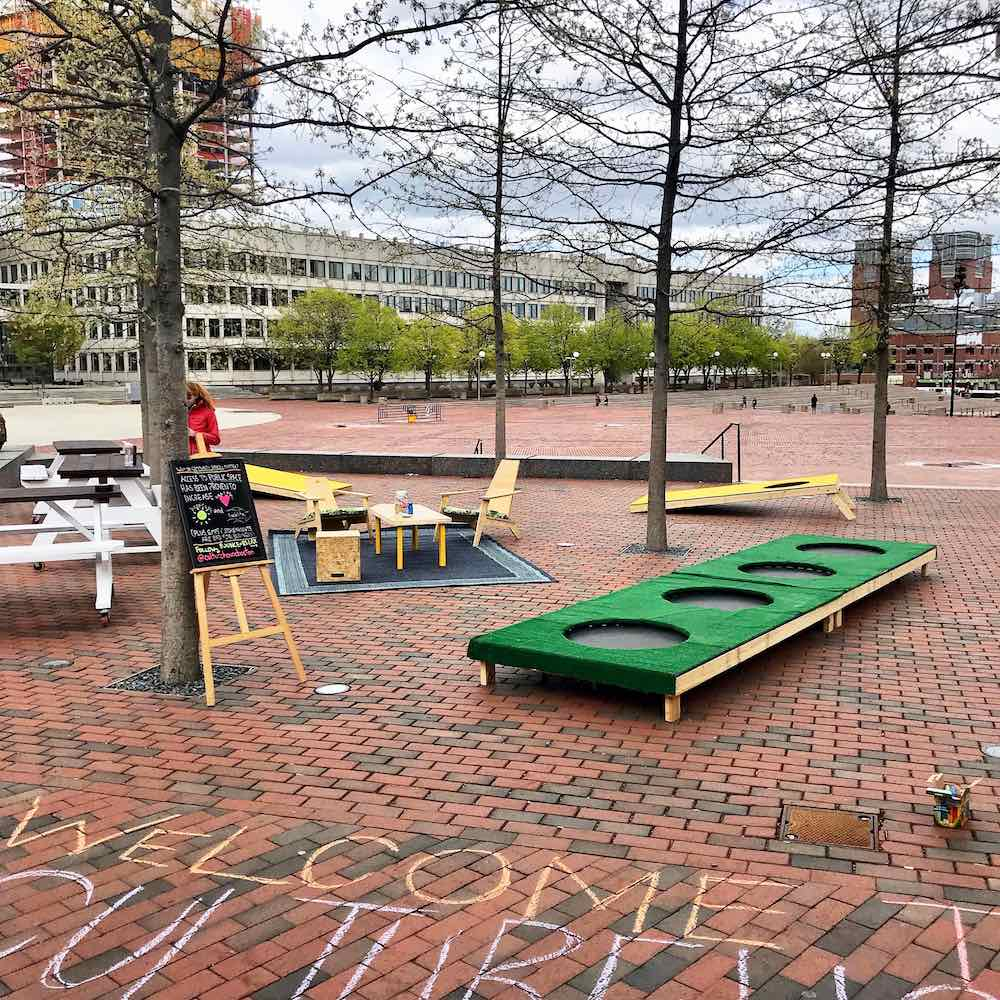Trampolines at the CultureHouse pop-up at City Hall Plaza in Boston