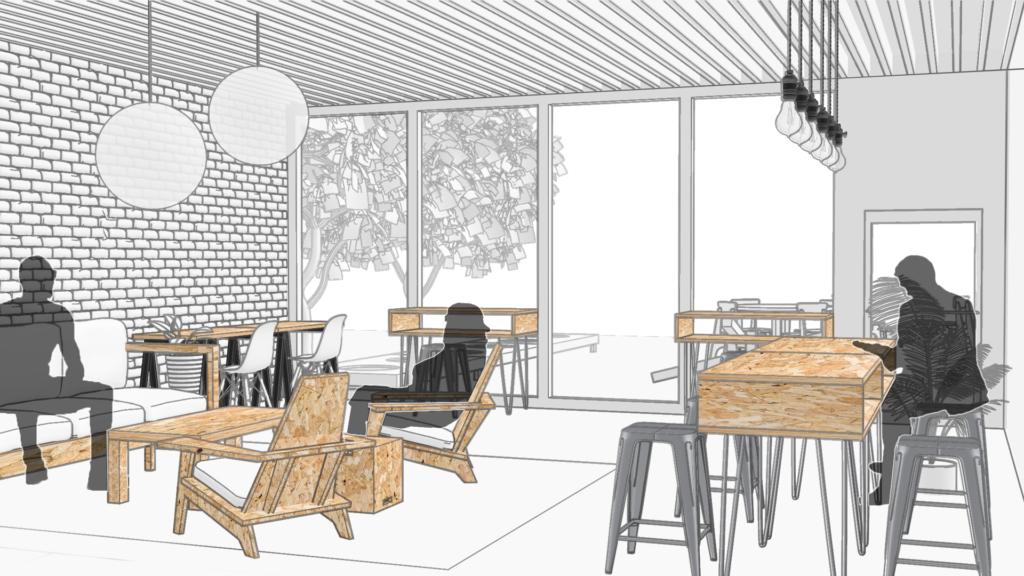 Interior rendering of CultureHouse Peabody