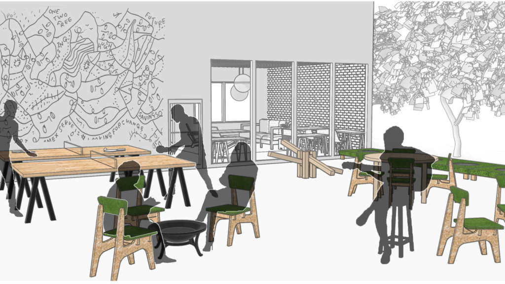 Concept rendering of a CultureHouse outdoor space
